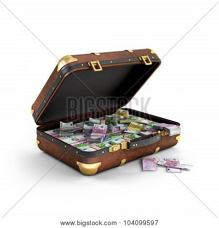 Euro Banknotes In A Suitcase