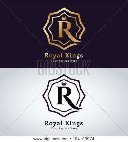 Royal logo vector template. Hotel logo. Kings symbol. Royal crests monogram. Kings Top hotel. Letter R logo. Royal hotel, Premium R brand boutique, Fashion R logo, Lawyer logo. Crown. vintage modern