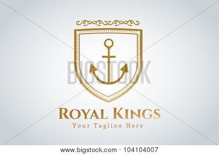 Anchor vector logo icon. Sea, sailor shield. Anchor logo. Anchor icon. Anchor symbol, anchor tattoo. Vintage old style logo template. Retro style. Arrow logo, label decor logo, premium quality logo