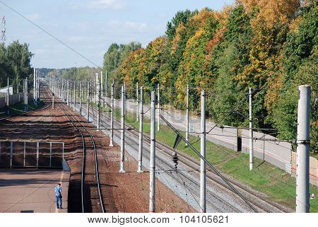 Stancija Udelnaja, Russia, 19 September 2015, Electrified railway. The Station Udelnaja.