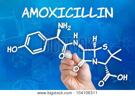 Hand With Pen Drawing The Chemical Formula Of Amoxicillin