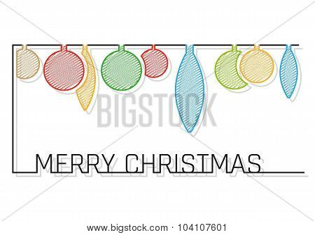 christmas card with shaded balls on white background poster