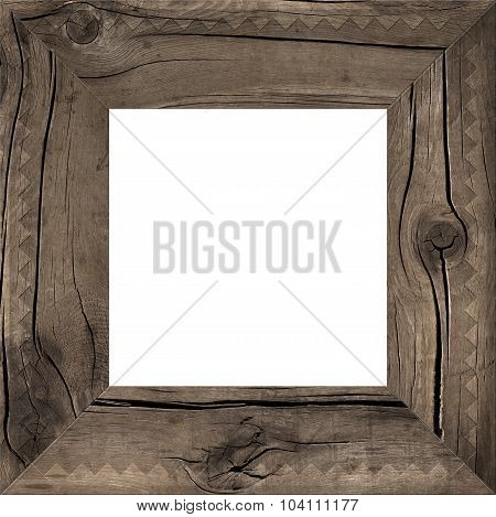 A rustic wooden frame isolated on white