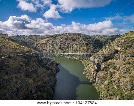 Aerial view of Requejo iron Bridge, Castile and Leon, Spain