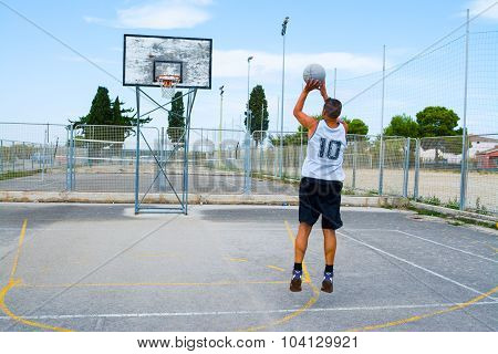 Jump Shot Practice In A Playground