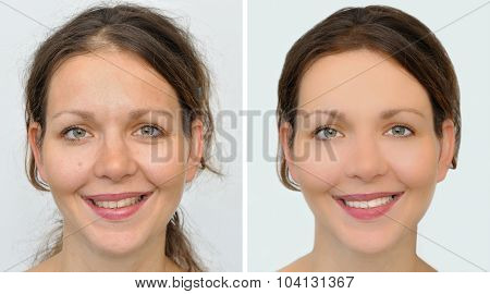 Beautiful woman before and after applying make-up, hairstyling and teeth whitening