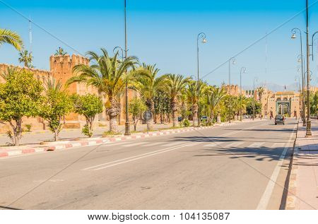 TAROUDANT, MOROCCO, APRIL 9, 2015: Avenue Moulay Ismail