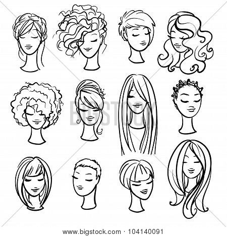 Set of ladys haircuts and styling