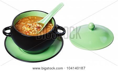 Soup Tureen, Spoon, Isolate
