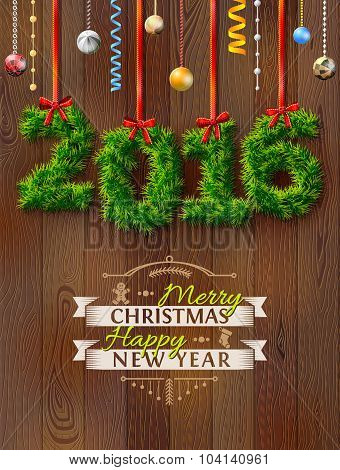 New Year 2016 Of Twigs Like Christmas Decoration