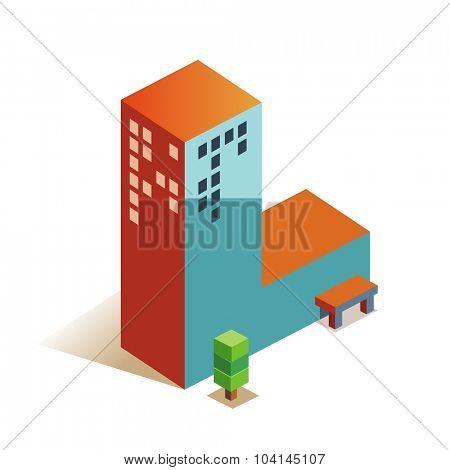Lima latin alphabet letter in skyscraper shape poster