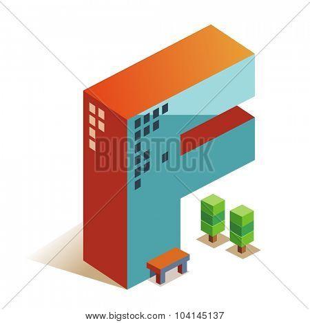 Foxtrot latin alphabet letter in skyscraper shape poster