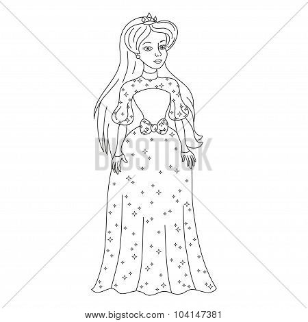 Beautiful princess in womanly dress with spangles, coloring book