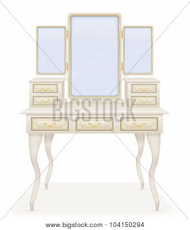 vanity table old retro furniture vector illustration vector illustration isolated on white background poster