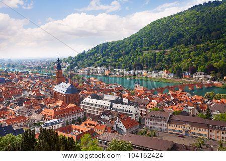 Bright panorama view with Heiliggeistkirche church