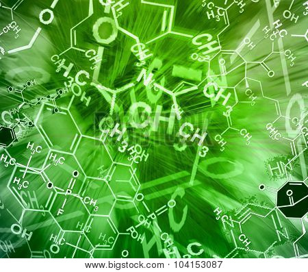 Image Of Chemical Technology Abstract Background. Science Wallpaper With School Chemistry Formulas A