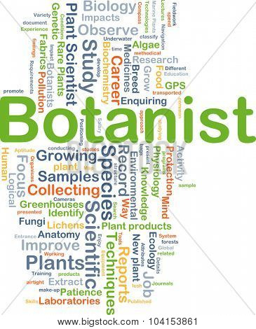 Background concept wordcloud illustration of botanist
