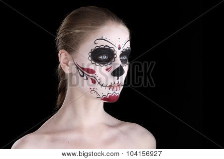 Woman with dia de los muertos makeup black empty space poster