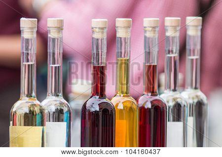 Set of colourful bottles