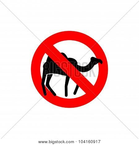 Stop Camel. Prohibited Animal Of  Desert. Red Forbidding Character.  Ban Silhouette Animal