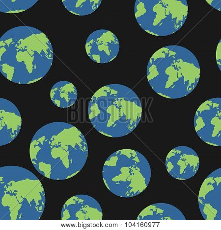 Globe Seamless Pattern. Globes Of Earth Background. Planets O  Black Background. Ornament Of  Heaven