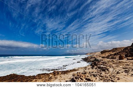 Northern Fuerteventura, Playa del Castillo beach close to El Cotillo
