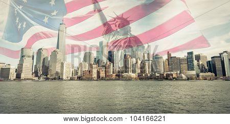Triple Exposure Of New York City Skyline, And American Flag