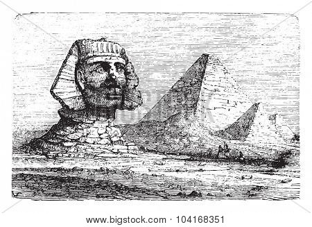 Pyramids of Giza and the Great Sphinx, vintage engraved illustration. Industrial encyclopedia E.-O. Lami - 1875.