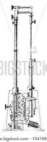 Electric torch or regulator M V Serin, vintage engraved illustration. Industrial encyclopedia E.-O. Lami - 1875.