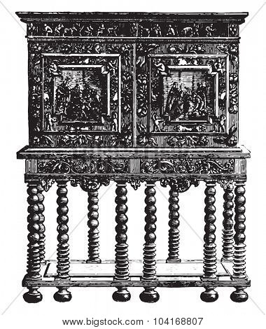 Office furniture on credence table ebony sixteenth century (Hammer Museum in Stockholm, vintage engraved illustration. Industrial encyclopedia E.-O. Lami - 1875.
