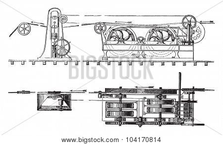 Elevation and unwinding unit plan, vintage engraved illustration. Industrial encyclopedia E.-O. Lami - 1875.