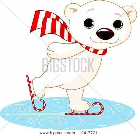 Illustration of cute polar bear on ice skates poster
