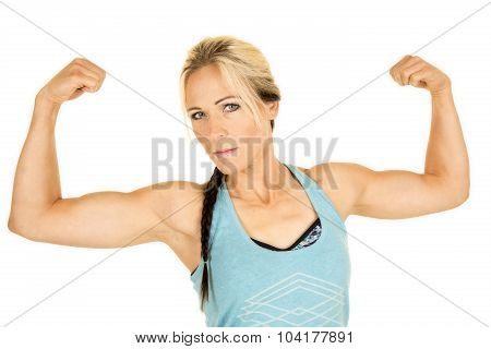 Woman In Blue Fitness Tank Top Flex Up Close