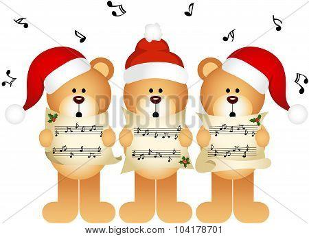 Christmas teddy bears choir singing
