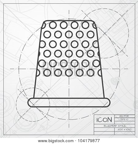 Vector classic blueprint of tailor thimble for finger icon on engineer and architect background poster