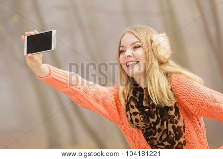 Happy Fashion Woman In Park Taking Selfie Photo.