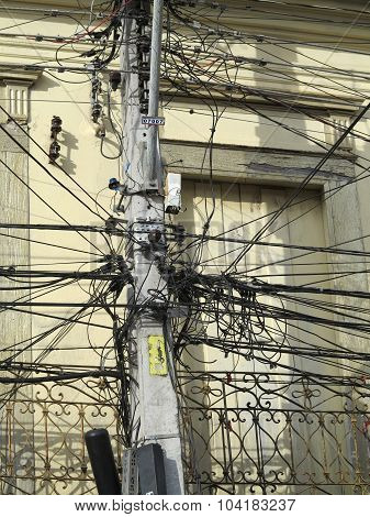 A tangle of cables and wires in sao paulo brazil poster