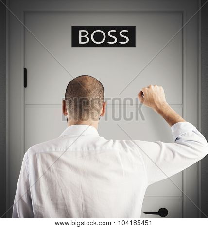 Employee knocks on the door of boss poster