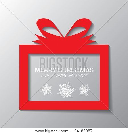 Red illustrated present icon with holiday message and snow flakes