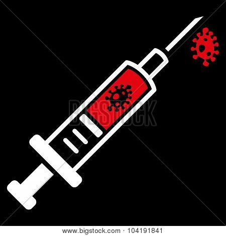 Infection Injection vector icon. Style is bicolor flat symbol, red and white colors, rounded angles, black background. poster