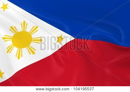 Waving Flag Of the Philippines - 3D Render Of The Filipino Flag With Silky Texture