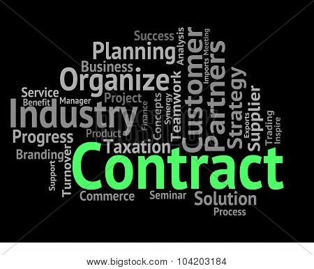 Contract Word Indicating Wordclouds Commitment And Contracted poster