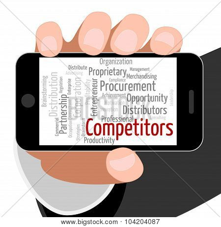 Competitors Word Showing Rival Wordcloud And Adversaries poster