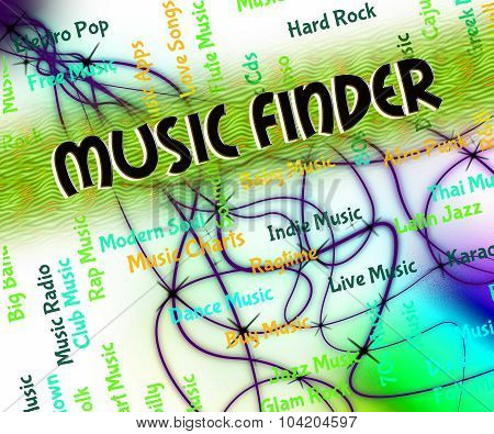 Music Finder Means Sound Track And Audio