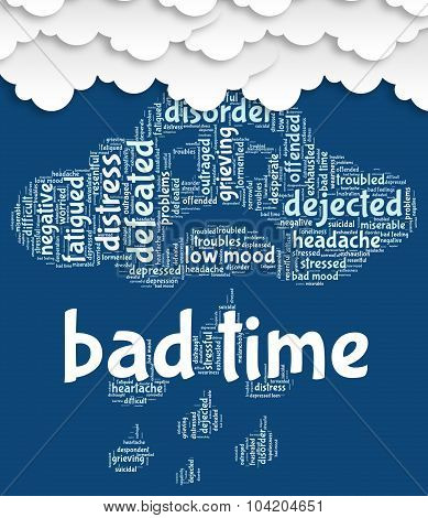 Bad Time Represents Wordclouds Hardship And Word