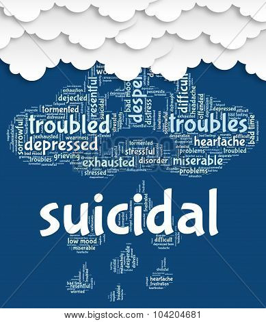 Suicidal Word Shows Attempted Suicide And Fatal