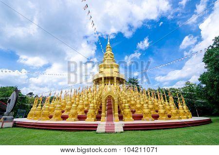 Golden Pagoda At Wat Pa Sawang Boon Temple.