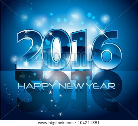 Blue modern glossy 2016 happy new year background with sparkle lights and reflection