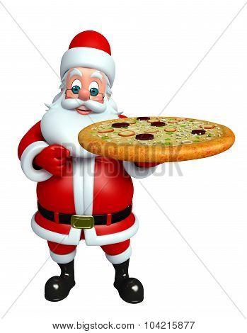 Cartoon Santa Claus With Pizza