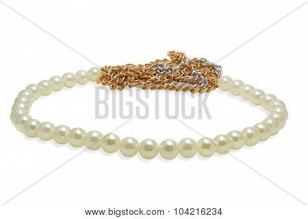 Beads from artificial pearls on a white
